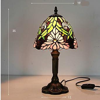 Lámpara Escritorio E27 Pantalla de vidrio manchado Dormitorio ...