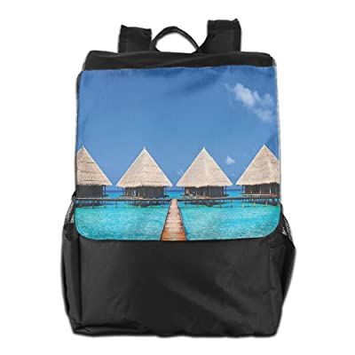 Newfood Ss Maldives Dock With Clear Waters Tropical Nature Polynesian Outdoor Travel Backpack Bag For Men And Women
