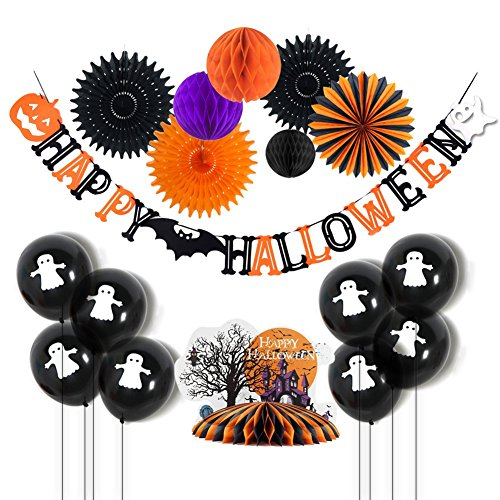 Halloween Party Hanging Decorations Tissue Paper Honeycomb Fans Happy Halloween Banner Latex Balloons with Scare House Honeycomb Table Centerpiece Easy Joy 17PCS -