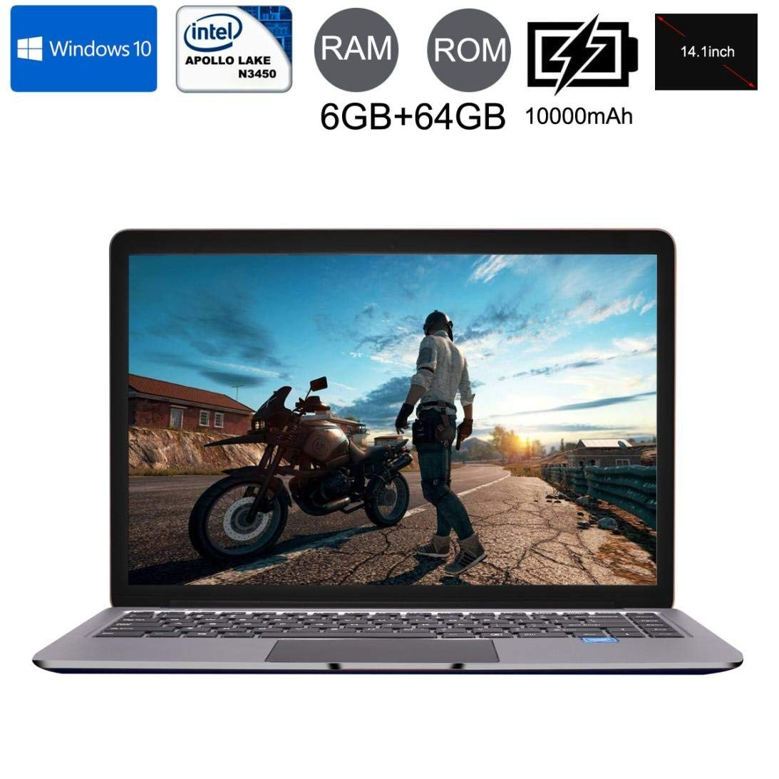 Dreamyth 14.1'' Screen 1920x1080 Display Notebook Laptop,Ultra-thin Quad-Core Laptop Windows10 Notebook