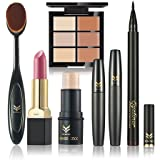 Huamianli 6Pcs Cosmetic Makeup Set Concealer Lipstick Eyeliner Pen Mascara Highlighter Shimmer Stick Foundation Brush