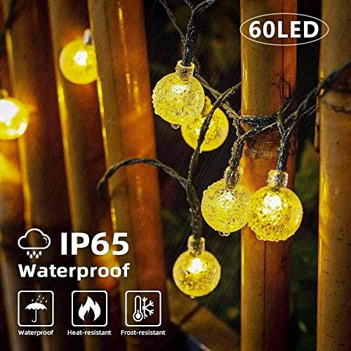 NEWYANG Solar Globe String Lights, 35.6ft 60 LED 8 Modes String Lights Outdoor Waterproof Crystal Balls Solar Powered Fairy Lighting for Patio Garden Yard Home Party Wedding Christmas Warm White