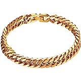 PROSTEEL Stainless Steel Chunky Chain Bracelet for Men, 21CM, 8/12/17MM Width, 18K Gold Plated/Black Color (with Gift Box,Velvet)