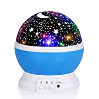 Luckkid Baby Night Light Moon Star Projector 360 Degree Rotation - 4 LED Bulbs 9...