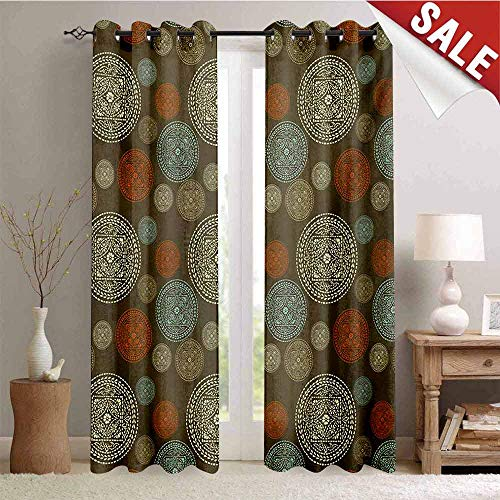 Hengshu Oriental Window Curtain Fabric Arabian Boho Circular Motifs with Flowers and Swirls Earth Tones Moroccan Image Drapes for Living Room W72 x L84 Inch Multicolor