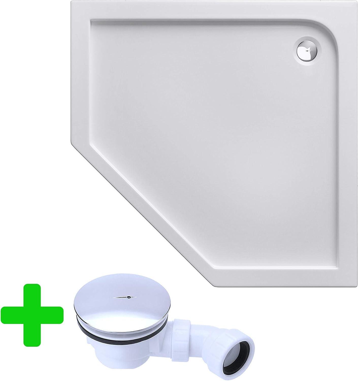 Receveur de douche 90x90 bac /à douche carr/é extraplat acrilique blanc Sogood Faro01 avec bonde AL01 90X90X4