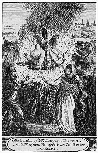Foxe Book Of Martyrs Nthe Burning Of Mrs Margaret Thurston And Mrs Agnes Bongeor At Colchester In Essex England Line Engraving From A Late 18Th Century English Edition Of John FoxeS The Book Of Martyr