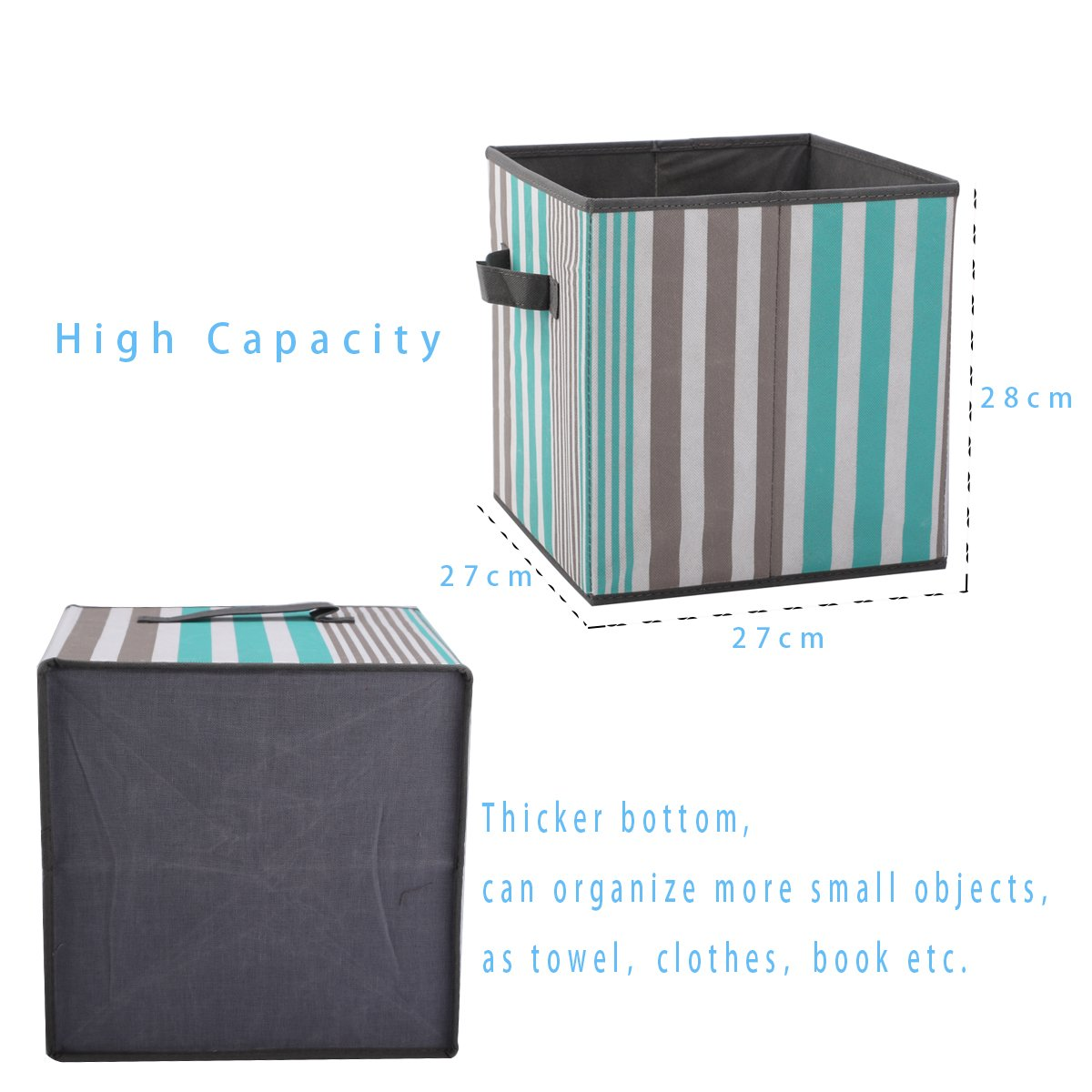 SbuyCoo Cloth Storage Bins, Set of 2 Foldable Fabric Storage Cubes Containers Organizers Basket with Dual Handles for Home, Office & Nursery