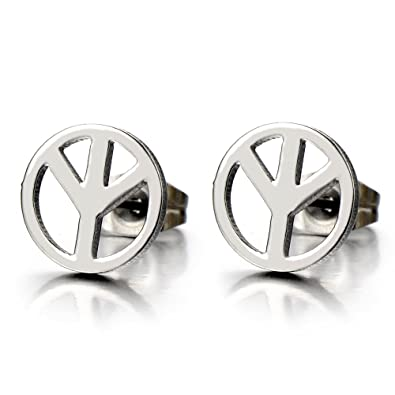 peace jewelry women stud for plated earrings symbol silver gifts rongqing sign lot item
