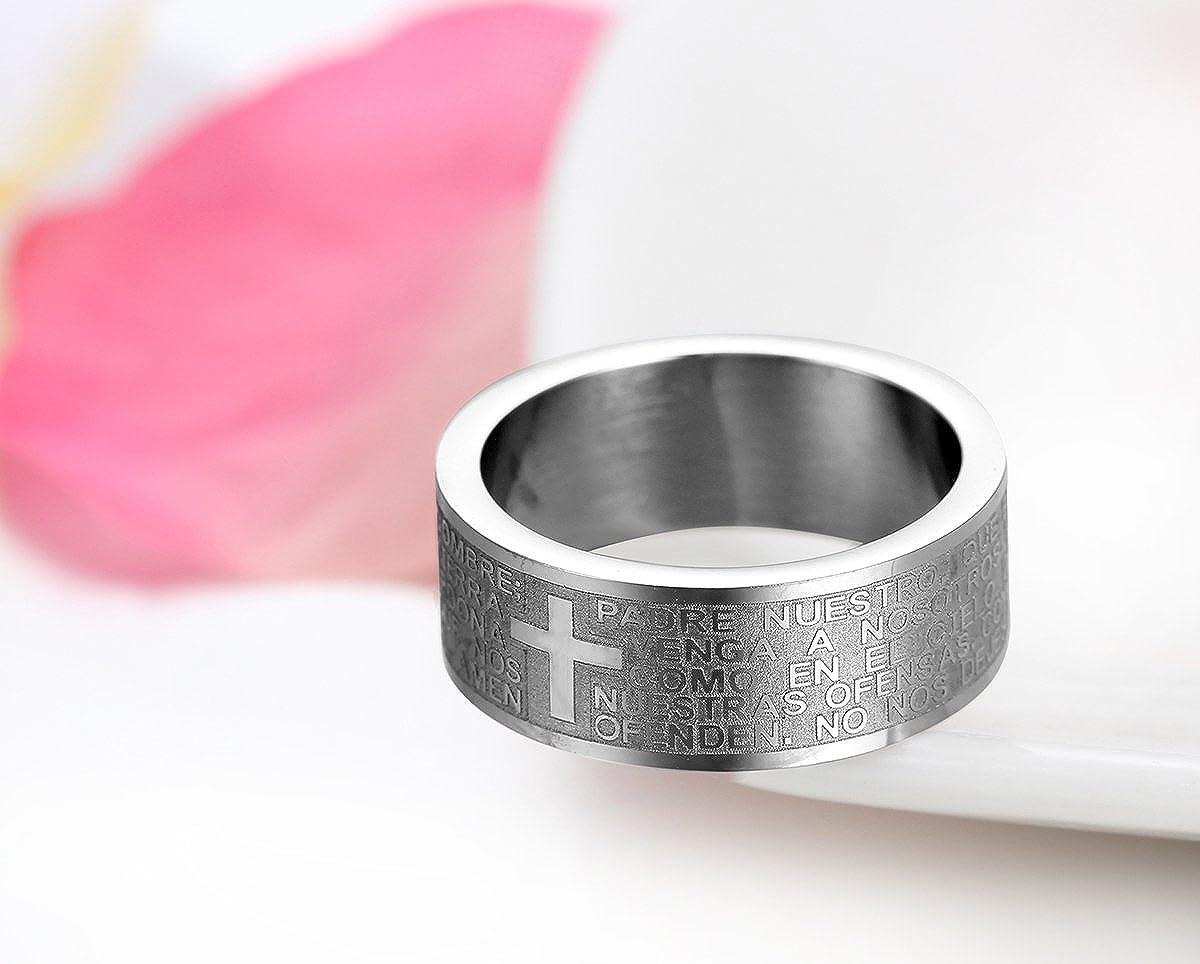 JewelryWe Mens Womens Stainless Steel Ring, Lord\'s Prayer Cross Pmm ...