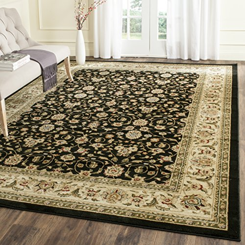 Safavieh Lyndhurst Collection LNH316B Traditional Oriental Black and Ivory Area Rug (8' x 11') (Black Ivory Rectangle Rug)