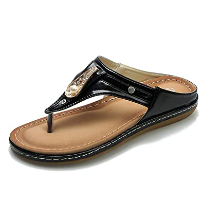 db5f1e6bb262 DeerYou Women s Flip Flop Summer Beach Pearl Thong Flat Sandal Comfort  Glitter Rhinestone Slides Black US