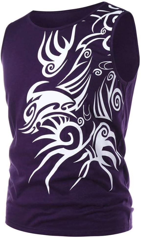 Yutao Men Pullover Fitness Muscle Print Sleeveless Bodybuilding Tight-Drying Vest Tops Blouses