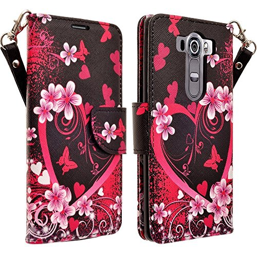 Microseven® LG G Stylo LS770 Case, LG G Vista 2 Case,Magnetic Leather Folio Flip Book Wallet Pouch Case Cover Fold Up Kickstand Detachable Wrist Strap For LG G Stylo / LG G Vista 2 (Lily Butterfly)