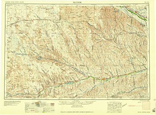 McCook NE topo map, 1:250000 scale, 1 X 2 Degree, Historical, 1958, updated 1958, 22 x 29.6 IN - - Map Center Beverly