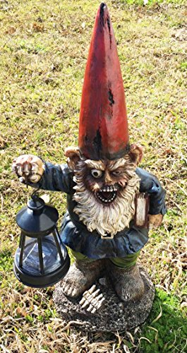 Walking Undead Zombie Walkers Gnome Carrying Lantern Garden LED Solar Light Statue Sculpture (Lantern Gnome)