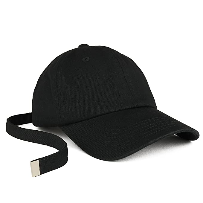 Trendy Apparel Shop Long Tail Strap Unstructured Adjustable Dad Hat - Black f3451f01e50