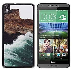 iKiki Tech / Estuche rígido - Wave White Foam Rocks Cliff - HTC DESIRE 816