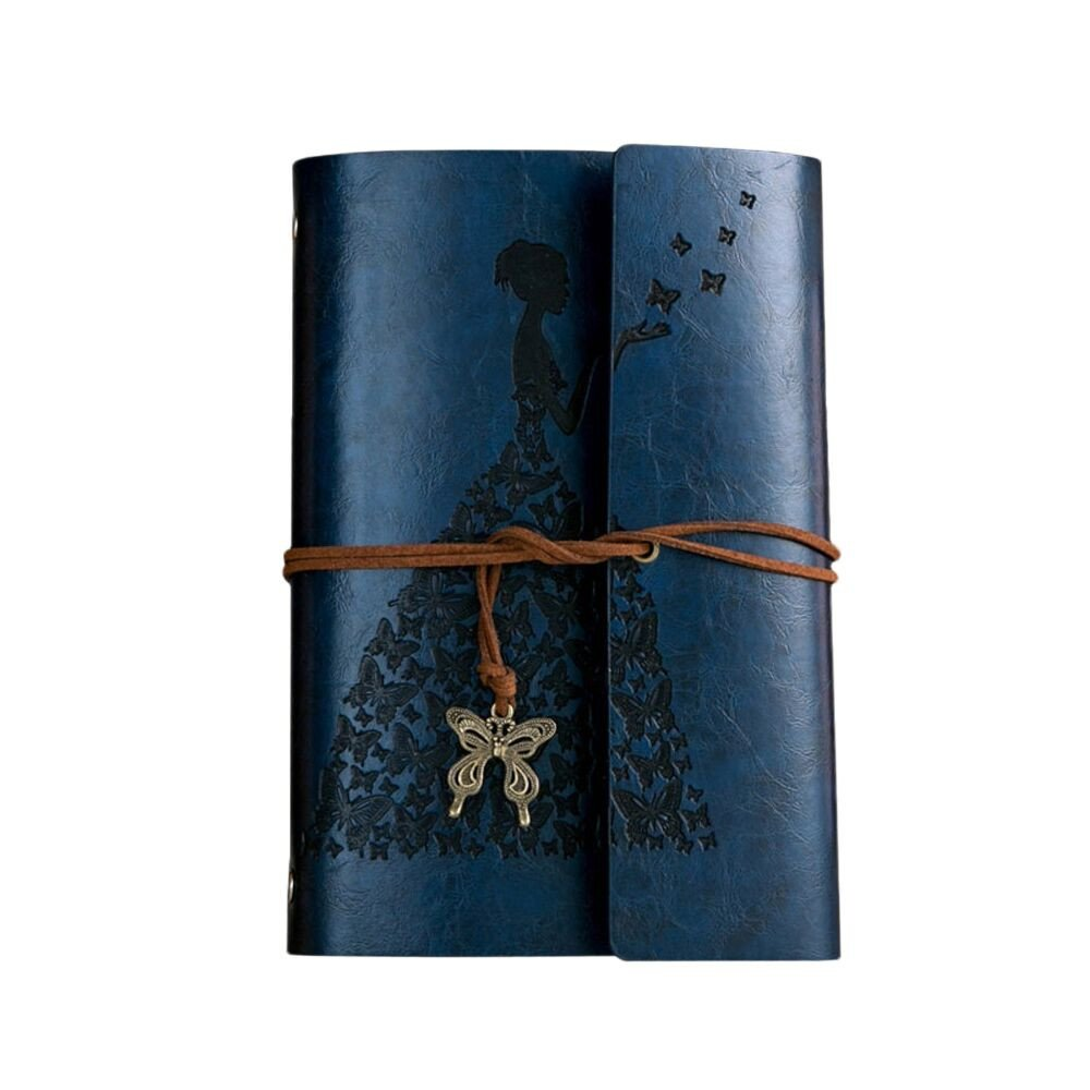 Hisoul Classic Notebook with Strap - Creative Butterfly Travel Journal Book Classic Kraft Paper Bound Notebook for Adults, Students, College, Souvenir (80 Pages, 4.1x7.5 in) (Blue)