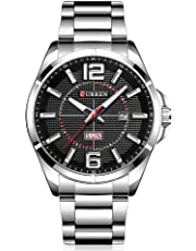 CURREN Men Watches Quartz Water Resistant Stainless Steel Watchband Wristwatches with Calendar 8271 (Sliver-Black)