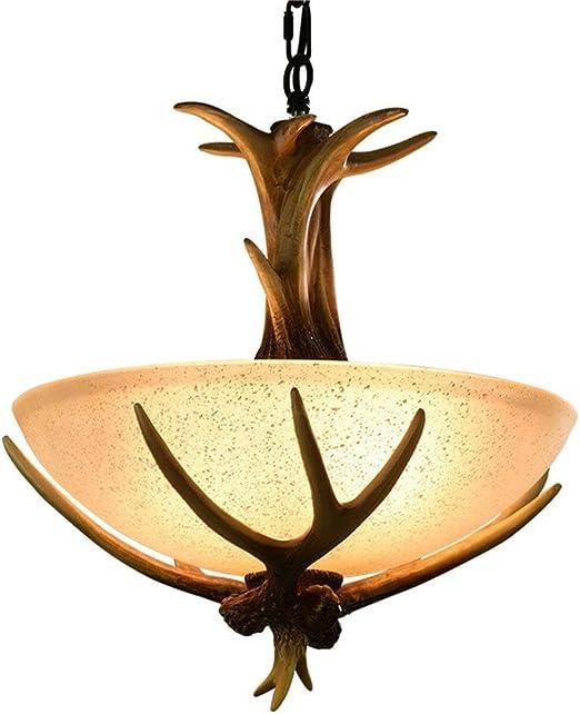 Gorkuor Araña de Luces Lámparas, Resina Creativa Lámpara de Cuerno ...