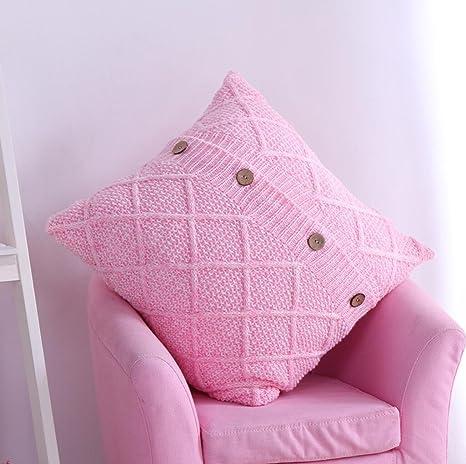 Funda de almohadilla de cojín de tejer 45 * 45cm , pink ...