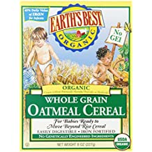 Earth's Best Organic, Whole Grain Oatmeal Cereal, 8 Ounce (Pack of 12) - Packaging may vary