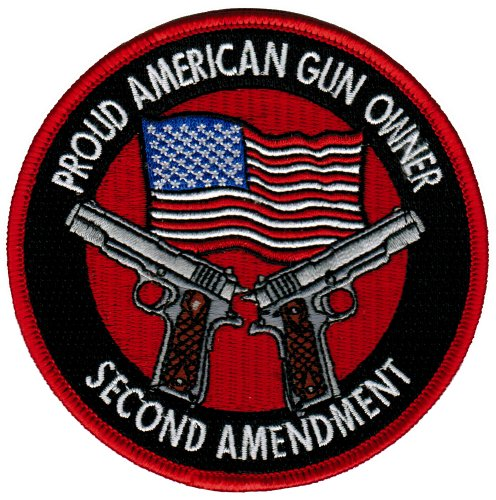 Proud American Gun Owner Second Amendment Embroidered Patch 1911 New Pistol Version