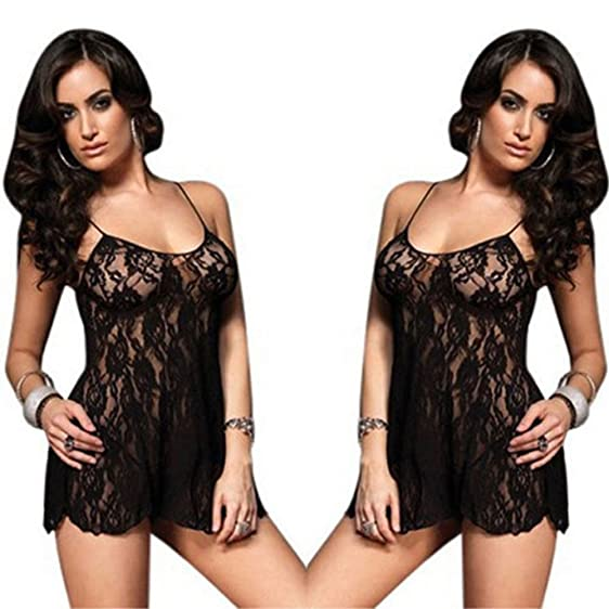 Sexy Ladies Lace Dress Babydoll Lingerie Nightwear G string Plus Size  Sleepwear b8a800550