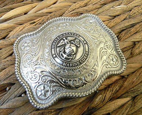 (Marine Silver Concho Belt Buckle, Western Womens Mens Military Belt Buckle, USMC Marine)