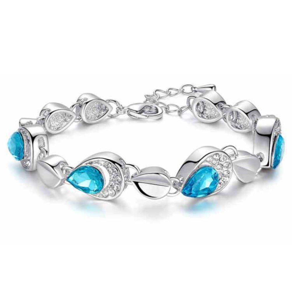 Women's Fashion Jewelry Waterdrop Rhinestone Bangle Link Chain Bracelet