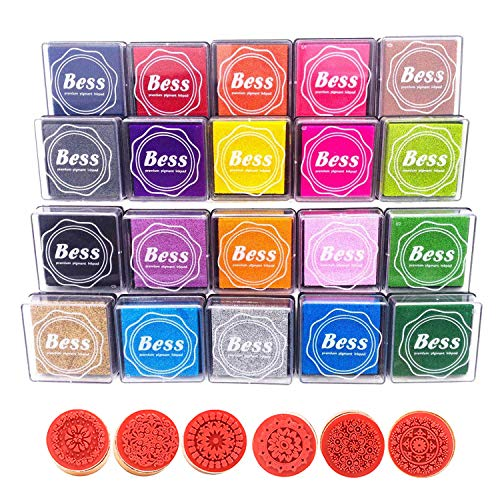Rubber Stamps Pad Ink Pad Stamps DIY Colors Crafts Ink Pads for Kids Rubber Stamp Scrapbooking Card Making Beautiful+6pcs Floral Pattern Round Wooden Rubber Stamps (20)