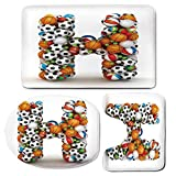 3 Piece Bath Mat Rug Set,Letter-H,Bathroom Non-Slip Floor Mat,Letter-H-Stacked-from-Gaming-Balls-Alphabet-of-Sports-Theme-Competition-Activity-Decorative,Pedestal Rug + Lid Toilet Cover + Bath Mat,Mul