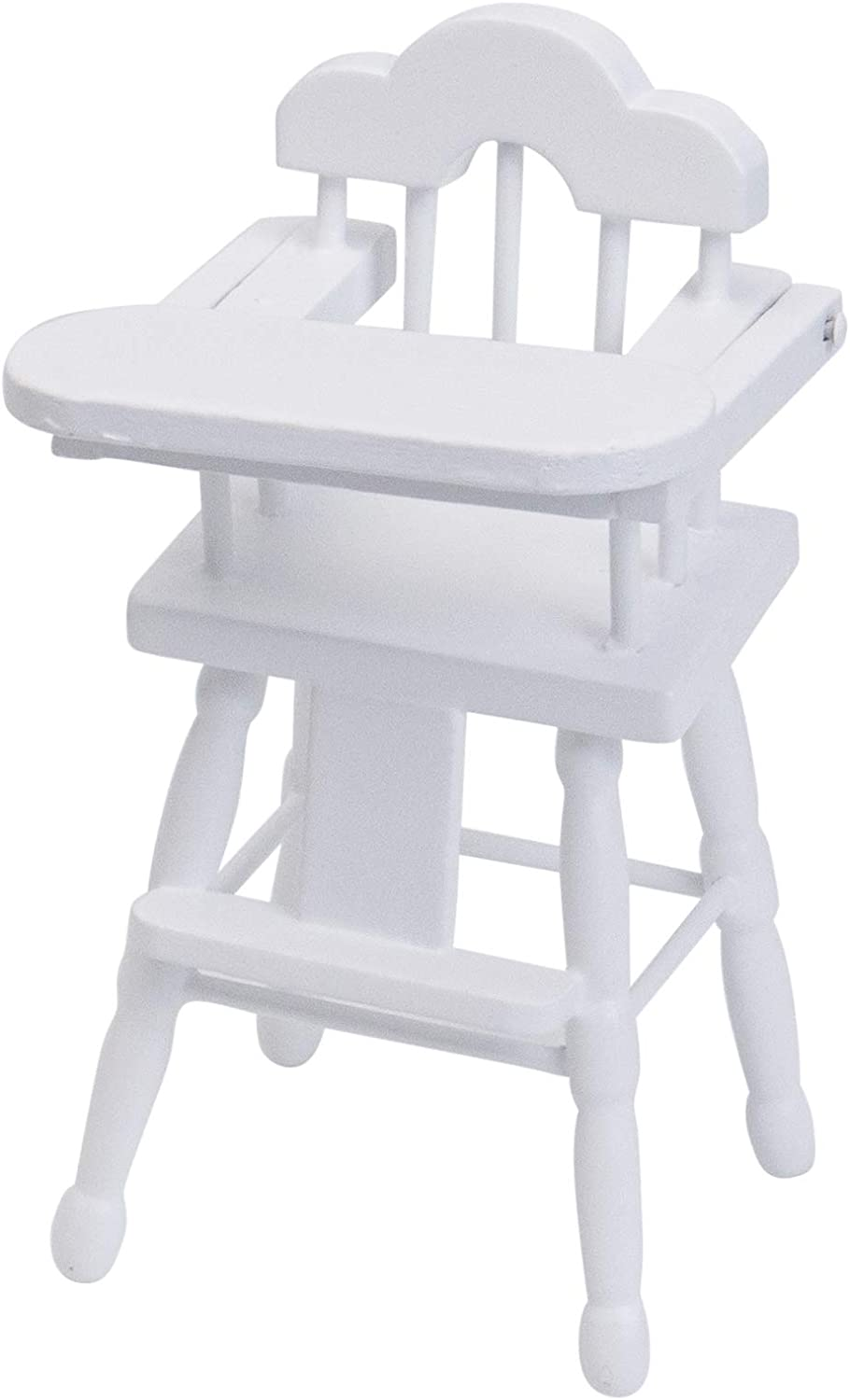AUEAR, 1 12 Scale Miniature High Chair Doll Wooden Table Chairs for Dollhouse White