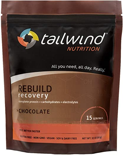 Tailwind Nutrition Rebuild Recovery Chocolate Drink Mix 15 Servings – Complete Protein, Electrolytes and Carbohydrates – Vegan, Gluten-Free, No Soy or Dairy