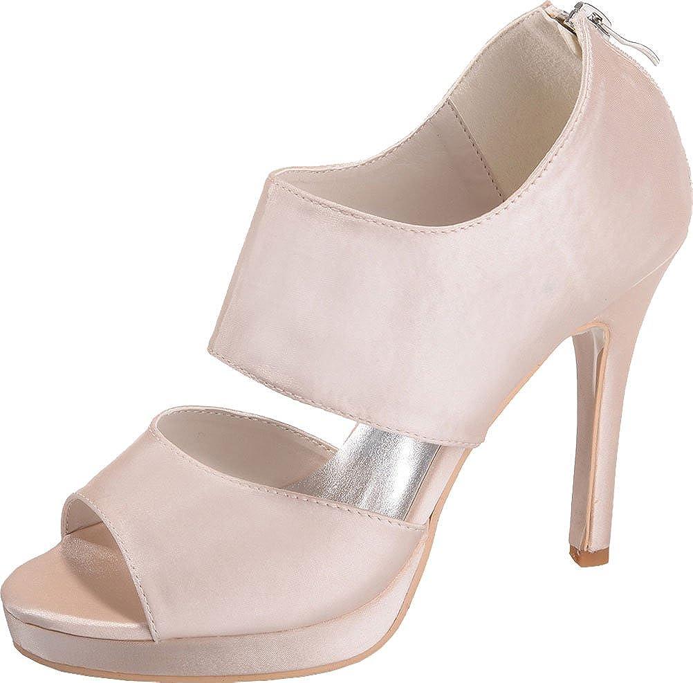 vimedea Womens Platform Slipper Zip Sandals Heeled Wedding Bride Open Toe Satin NX5915-13