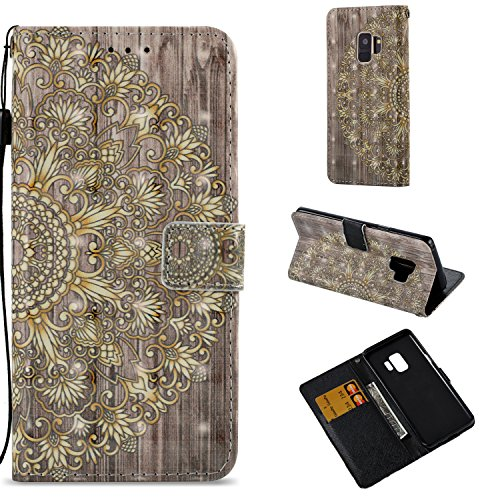 Galaxy S9 Wallet Case,HAOTP 3D Beauty Luxury Fashion PU Flip Stand Credit Card ID Holders Wallet Leather Case Cover for Samsung Galaxy S9 Gold Mandala Floral
