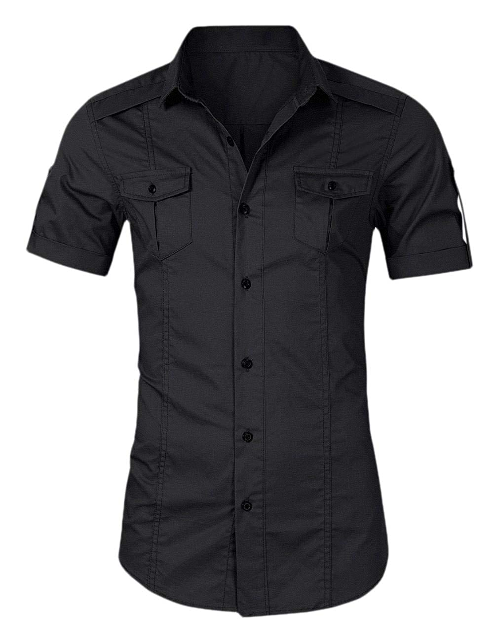 Jmwss QD Mens Short-Sleeve Twill Work Shirts Casual Button Down Shirts