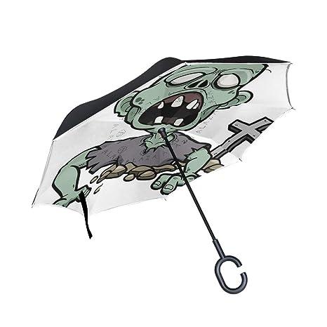 ISAOA Paraguas Plegable de Doble Capa, Resistente al Viento ...