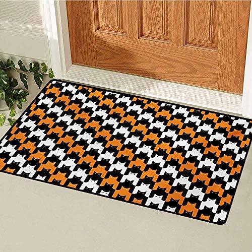 GUUVOR Halloween Front Door mat Carpet Digital Style Catstooth Pattern Pixel Spooky Harvest Fashion Illustration Machine Washable Door mat W35.4 x L47.2 Inch Orange Black White -