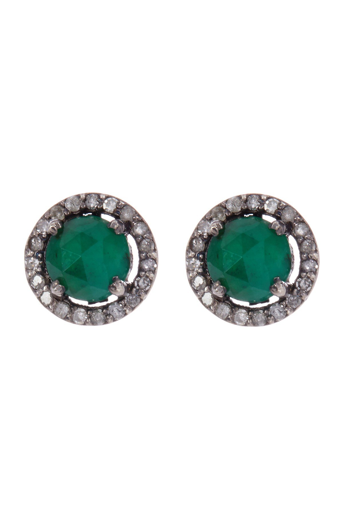 Emerald Halo Stud Earrings for Women| Sterling Silver 5mm Echo Stud Earrings With Champagne Diamond