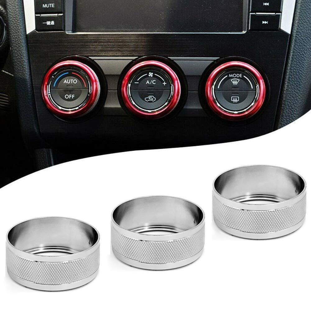 Motoparty AC Climate Control Knob Ring Covers For Subaru WRX STI Impreza Forester XV Crosstrek Control Switch Knob Covers,Silver Anodized Aluminum