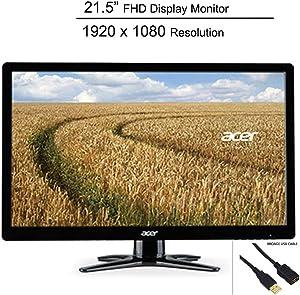 "Acer 21.5"" Full HD LED Display Monitor_ 1920 x 1080 Resolution_ 60Hz Refresh Rate_ 5 ms Response Time_ 16:9 Aspect Ratio_ 200 cd/m² Brightness_ DVI_ VGA_ Black_ BROAGE USB Cable 5ft"