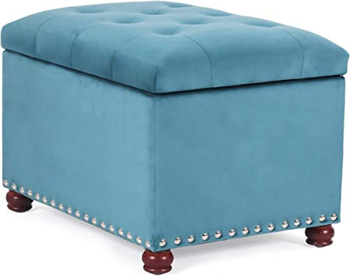Decent Home Tufted Storage Ottoman Velvet Foot Rest Stool