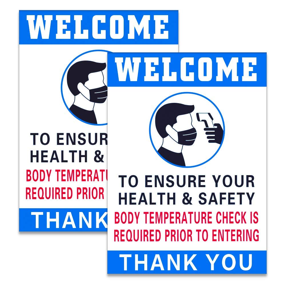 """SICOHOME Body Temperature Check Required Sign, 2pcs Temperature Check Station Sign,7""""x 9.8"""",Temperature Check is Required to Prevent Covid 19"""