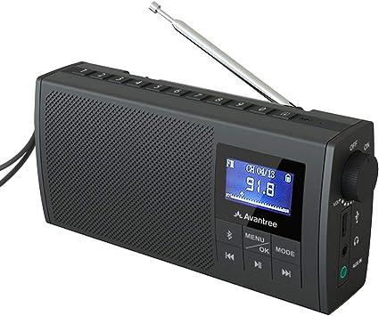Avantree Soundbyte Pequeña Radio FM portátil & Bluetooth 5.0 Altavoz 2 en 1, Stereo Dual Sonido 6W, FM Auto Scan, Antena telescópica retráctil Gran ...