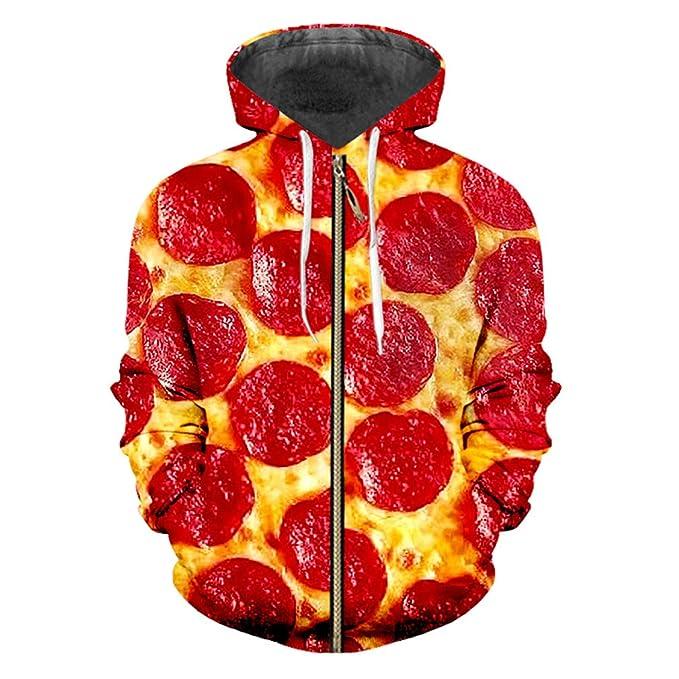 Bridfa Sudaderas Capucha Cremallera 3D Sudadera Capucha impresión Pizza roja Ocasional Ropa Gran tamaño Hombre Sudaderas Capucha Invierno Sudaderas: ...