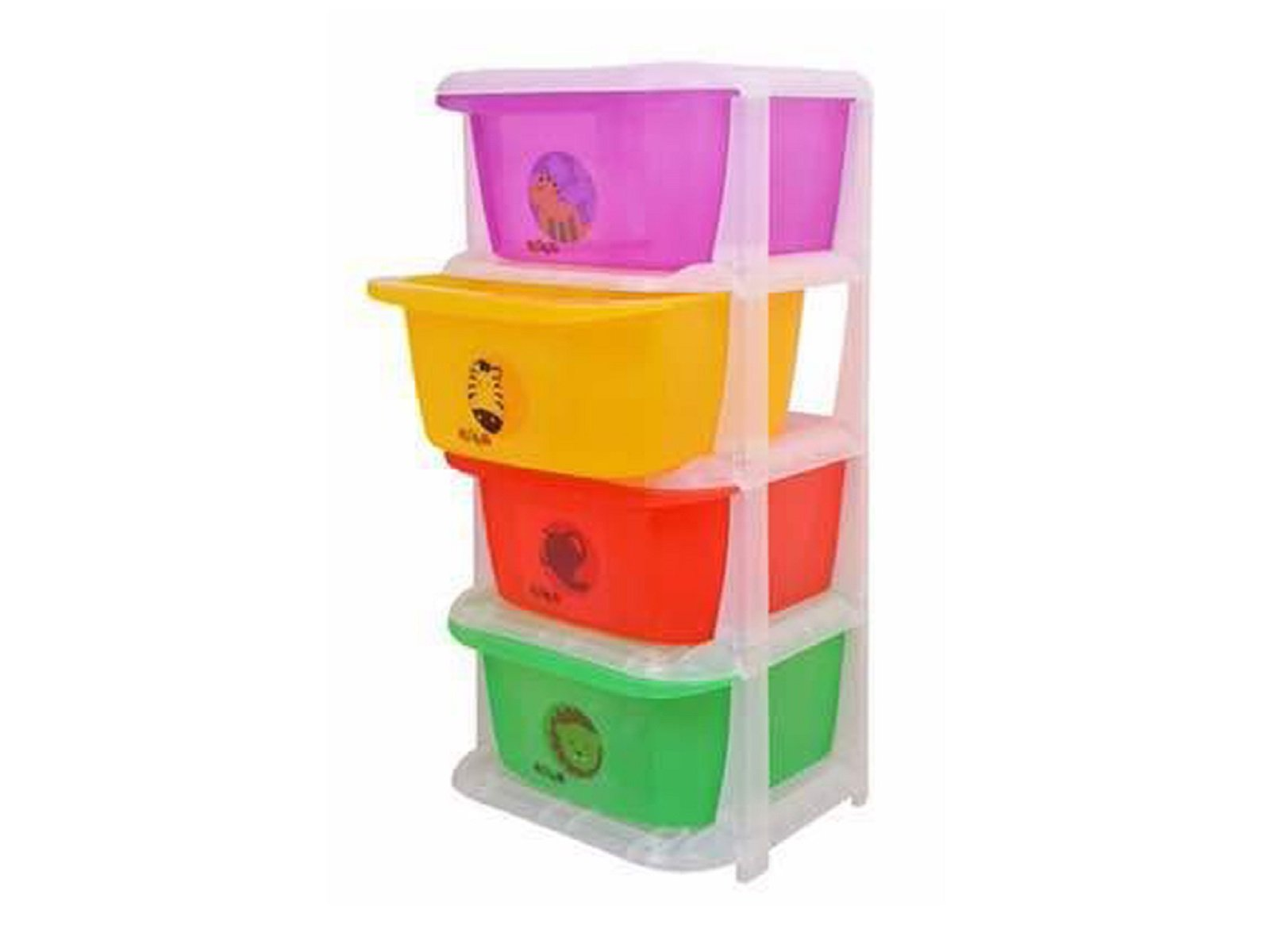 Kuber Industries Storage Drawers Basket for Kitchen/Office/Children/Toy With 4 Drawer in Moduler Design (Multiple usages) Basket006