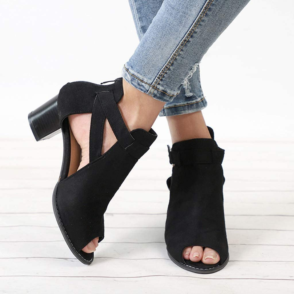 SSYUNO Low Heel Sandals for Women Summer Elegant Peep Toe Hollow Out Roman Shoes Summer Ankle Boots Block Heel Sandal