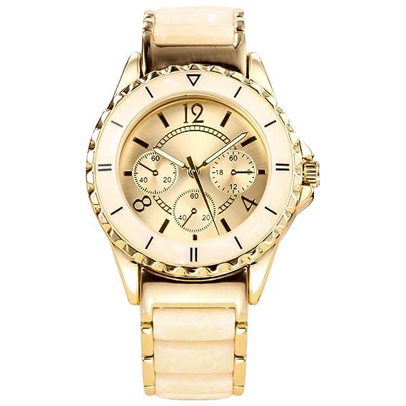 Reloj de pulsera analógico de cuarzo dorado para mujer, resistente al agua